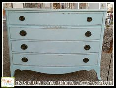 West Michigan - Antique bow front dresser refinished in Caribbean Blue and Green Fields Shabby Chic® Chalk & Clay Paint by Rachel Ashwell.  www.shizzle-design.com