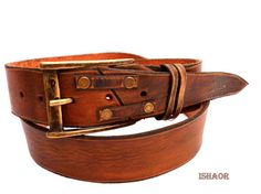 Brown Distressed Leather belt with decorative golden by ISHAOR