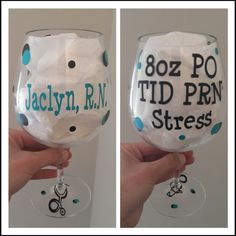 Personalized Wine Glass for Nurse by 2Lollies on Etsy