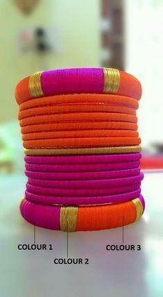 Pink and Orange Silk Thread Bangles Note: This is a made-to-order product and will be shipped within 7 to 10 days from the order date. Silk Thread Bangles Design, Silk Thread Necklace, Silk Bangles, Beaded Necklace Patterns, Bridal Bangles, Thread Jewellery, Fabric Jewelry, Jewelry Patterns, Diy Jewelry