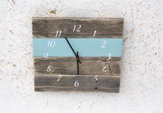 Pallet Wood Wall Clock...Reclaimed wood clock...Custom Color...Nautical style numbers...Gift idea.  Wedding.  Housewarming. by terrafirma79 on Etsy https://www.etsy.com/listing/119095095/pallet-wood-wall-clockreclaimed-wood