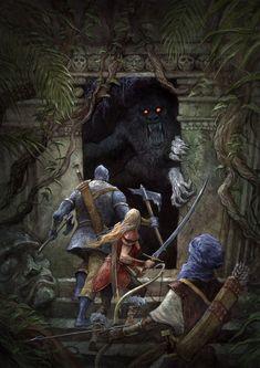 Party of 3 Jungle Temple lg Dark Fantasy Art, Fantasy Concept Art, High Fantasy, Fantasy Rpg, Medieval Fantasy, Fantasy Artwork, Fantasy World, Jungle Temple, Dnd Art