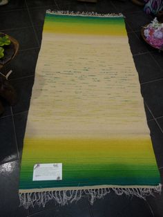 Hand-woven wool rug, green and yellow