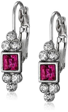 acde36bc988058 1928 Jewelry Silver-Tone Fuchsia and Crystal Petite Square Drop Earrings  *** Thank you for having viewed our picture. (This is our affiliate link) #  ...