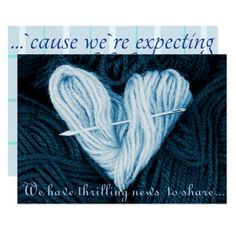 blue wool heart baby boy pregnancy announcement - gift idea custom