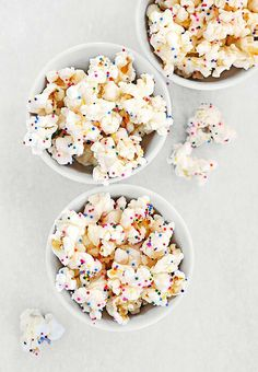 Pour rainbow sprinkles over popcorn for a delicious disco treat!