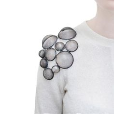 Steel Mesh Shoulder Brooch - art jewelry, contemporary jewellery design // Sehnaz Erdal