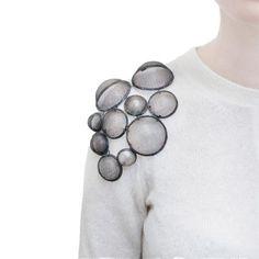 Steel Mesh Shoulder Brooch - art jewelry, contemporary jewellery design // Sehnaz Erdal
