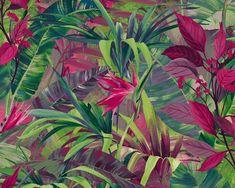 RW115 Orange Wallpaper, Tropical Wallpaper, Vinyl Wallpaper, Wallpaper Samples, Wallpaper Online, Colorful Wallpaper, Flower Wallpaper, Leaves Wallpaper, Botanical Wallpaper