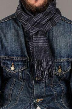 Chelsey Imports Cheek Plaid Wool Scarf, denim jacket