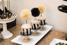 Modern Black + Gold Christmas Party via Kara's Party Ideas KarasPartyIdeas.com Cake, printables, decor, tutorials, desserts, recipes, and more! #christmas #christmasparty #modernchristmasparty #blackandgold #modernholidayparty #christmaspartyideas (8)