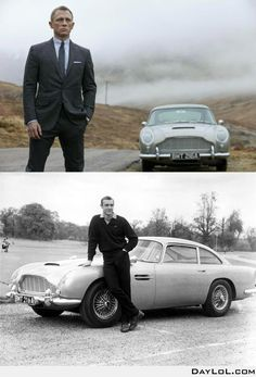 Daniel Craig may be the sixth or seventh actor to portray James Bond, but there's one thing that remains timeless: Bond's 1964 Aston Martin seen below with Sean Connery. James Bond Skyfall, James Bond Cars, James Bond Movies, Aston Martin Db5, Daniel Craig, Bond Girls, Man Cave Bar, Sean Connery, Ford Motor Company