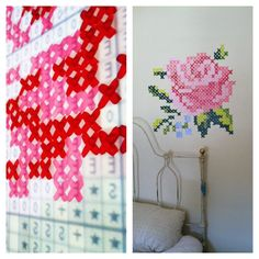 Cross stitch mural: use an overhead projector (I found mine on Craigslist or you can typically rent one) level, acrylic paints that match the DMC threads for the original pattern and a couple small brushes. Take your printed color pattern to any copy place and they will make you a transparency. It was seriously so easy and looks gorgeous. Painted by Rebecca Baker SLC, UT