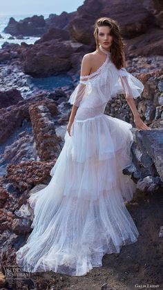 galia lahav gala 2018 bridal off the shoulder halter neck light embellishment bohemian layered skirt modified a line wedding dress sweep train (12) mv