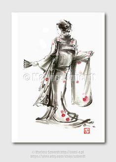 Geisha art, geishacreations, summer dress woman, japanese kimono, japanese art, sumi-e, fine art print, japanese style A3    A3 giclee high quality
