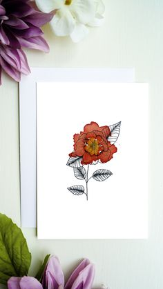 High quality printed flowers greeting card with blank inside for your greetings, congratulations and more. You will receive a white envelope for the greeting card. Bouqets, White Envelopes, Line Drawing, Flower Prints, Watercolor Flowers, Congratulations, Art Ideas, Greeting Cards, Etsy