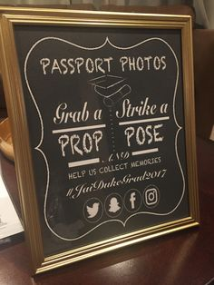 Passport Photos Sign for Photo Prop Table - Vintage Travel Theme Graduation Party