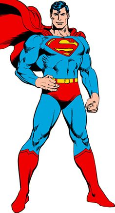 Superman standing over a white background
