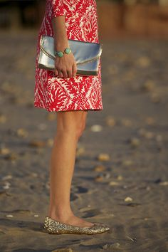 shoes - sparkle - bag - silver - bracelet - turquoise - dress - red & white