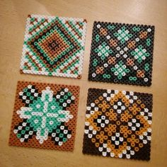 Hama perler bead designs by villi_ingi Melty Bead Patterns, Pearler Bead Patterns, Perler Patterns, Beading Patterns, Hama Beads Coasters, Diy Perler Beads, Pearl Crafts, Mandala, Perler Bead Templates