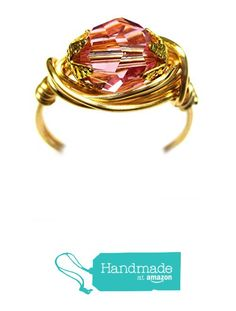 Genuine Swarovski Faceted Crystal Rose Pink Gold Wire Wrap Ring from Designer Wire Jewelry http://www.amazon.com/dp/B015M79OX4/ref=hnd_sw_r_pi_dp_55Gqwb17NC9DP #handmadeatamazon