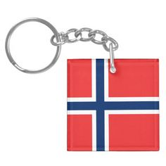Norwegian Flag Leather Keyring norway nordic world cup norge Brand New