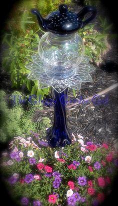 Glass garden totem, Glass garden art, yard art, repurposed recycled up cycled glass, unique garden decor, sun catcher,  www.TheGlassyGardenGal.com