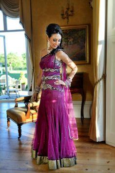modern plum twist bridal gown for South Asian bride  #indianwedding, #southasianwedding, #shaadibazaar