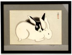 Old Japanese Woodblock Print Rabbit Bunny