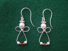 Angel Earrings-Sterling Silver & Red Swarovski crystals on Etsy