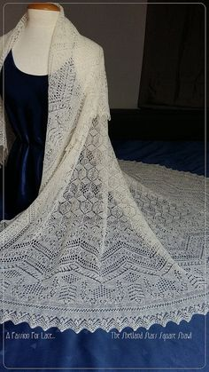 Claire's Wedding Shawl Knitting Pattern from Outlander Series - Monique Boonstra used detailed photos provided by Outlander costume designer Terry Dresbach of the lace shawl Claire wears in Outlander Episodes 9 and 12 to create the pattern for The Shetland Stars Square Shawl. Exquisite!