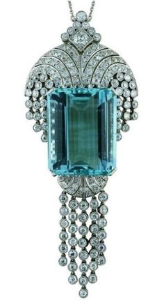 Art Deco Platinum & Aquamarine 1930's by AislingH