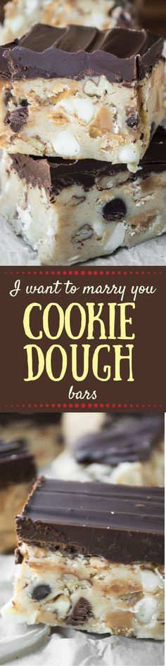 I Want To Marry You Cookie Dough Bars are chocked full of chocolate chips, white chocolate chips, peanut butter chips, oats, and pecans. There's a little bit of everything in there, no wonder people tend to get romantic around them. ~ http://theviewfromgreatisland.com