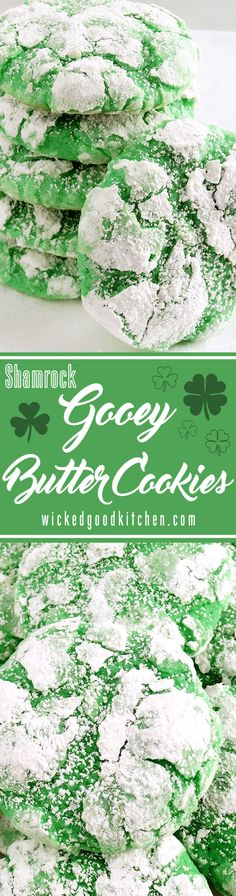 """Shamrock Gooey Butter Cookies - Best Ever (from scratch!) ~ Melt-in-your-mouth Shamrock Gooey Butter Cookies at their finest and from scratch. Buttery, light and tender, flavored with pure cool mint extract and sweetened just right for that classic """"Shamrock Shake"""" flavor, these festive cream cheese cookies are perfect for spring and St. Patrick's Day, or everyday. You just can't have one! Included is a scrumptious gluten free variation. Mint lovers of all ages will LOVE them!"""