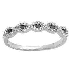 Elora 14k White Gold 1/4ct TDW Round Black and White Diamond Stackable Wedding Band Swirl Ring (I-J, I2-I3 (Size 9, White Gold), Women's