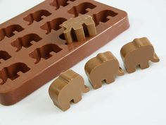 Elephants Animals Silicone Chocolate / Candy by siliconemoulds