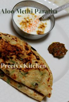 Preety's Kitchen: Aloo Methi Paratha (Indian Bread Stuffed With Potatoes & Fenugreek Leaves) Indian Food Recipes, Vegetarian Recipes, Cooking Recipes, Paratha Bread, Methi Recipes, Indian Dishes, Indian Breads, Aloo Methi, Eastern Cuisine