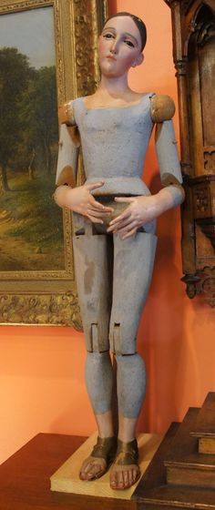 """Articulated Processional Mannequin of St. Mary from antiquingwithpamela on Ruby Lane This Stunning Hand carved Processional Mannequin of St. Mary is in Excellent Condition. Attributed to Valentin Barahona( San Salvador, 1841-1927) Measuring 26"""" tall, The details in the face, hands, and feet are remarkable, with glass eyes and realistic coloring"""
