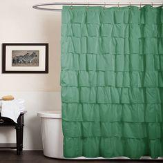 Lush Decor Ruffle Fabric Shower Curtain, Green