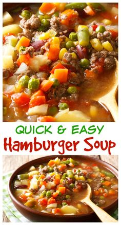 This easy hamburger soup is loaded with ground beef and vegetables. Make it in t… This easy hamburger soup is loaded with ground beef and vegetables. Make it in the slow cooker or in about a half hour! Beef Soup Recipes, Healthy Soup Recipes, Ground Beef Recipes, Herb Recipes, Beef Soups, Beef Dishes, Hamburg Soup Recipes, Delicious Recipes, Easy Recipes