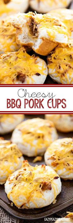 Cheesy BBQ Pork Cups: A delicious biscuit cup stuffed with Cheddar Kraft Natural Cheese and BBQ pork, then baked to perfection! #ad #NaturallyCheesy - Eazy Peazy Mealz
