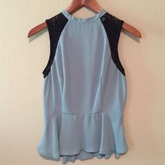Peplum Top With Lace Zips up the back peplum top. Size small. Chloe K. Chloe K Tops