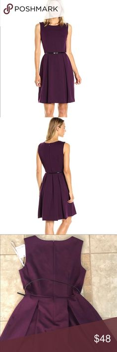 NWT Calvin Klein Pleated Roundneck Dress, sz 8! Calvin Klein Pleated Roundneck Dress, sz 8!  Color is a beautiful plum aubergine.  Polished solid sleeveless dress with accented pleats, back zip closure, lined with a skinny belt.  72% Rayon, 24% Nylon, 4% Spandex Calvin Klein Dresses Midi