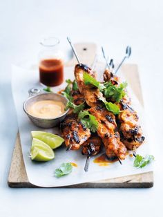 char-grilled lime and sriracha chicken skewers from donna hay