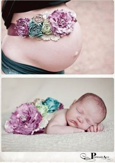 Cute baby picture idea. Instead of flowers a blue or pink bow. <3