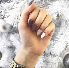 Brown to white ombré nails