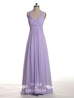 MACKENZIE--Pleated Low Back Halter Neck Pastel Lilac Long Bridesmaid Dress 1 (Modified to be knee length)