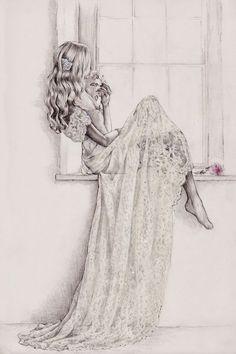 www.lunacatstudio.com fashion beauty makeup blog template wordpress for women bloggers Parchment & Pixel illustration of Anna Campbell's 'Eloise' gown: