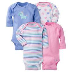 Baby Girls' 4 Pack Long Sleeve Zebra Onesies Purple 6-9M - Gerber, Infant Girl's, Size: 6-9 M