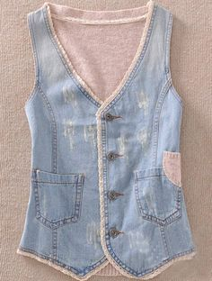 To find out about the Light Blue Coffee Single Breasted Pockets Bleached Denim Vest at SHEIN, part of our latest Outerwear ready to shop online today! Vintage Denim, Denim Decor, Denim Vests, Estilo Jeans, Bleached Denim, Denim Crafts, Love Jeans, Recycled Denim, Denim And Lace